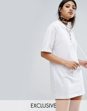 photo Oversized T-Shirt Dress with Lace Up Neck by Bones, color White - Image 1