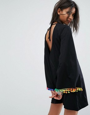 photo Long Sleeve Swing Dress with Rainbow Pom Pom Trim by Rokoko, color Black - Image 2