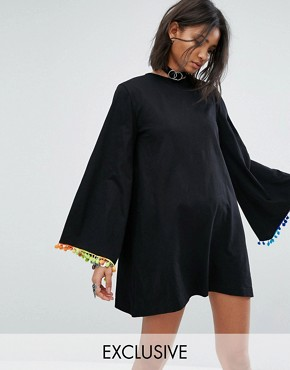 photo Long Sleeve Swing Dress with Rainbow Pom Pom Trim by Rokoko, color Black - Image 1