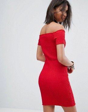 photo Off The Shoulder Dress with Shirring Detail by Rokoko, color Red - Image 2