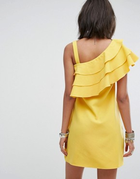 photo One Shoulder Dress with Frill by Rokoko, color Yellow - Image 2