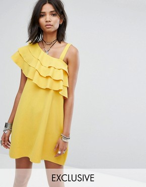 photo One Shoulder Dress with Frill by Rokoko, color Yellow - Image 1