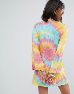 photo Swing Dress with Wide Sleeves and Choker Neck in Tie-Dye by Rokoko, color Rainbow Tye Dye - Image 2