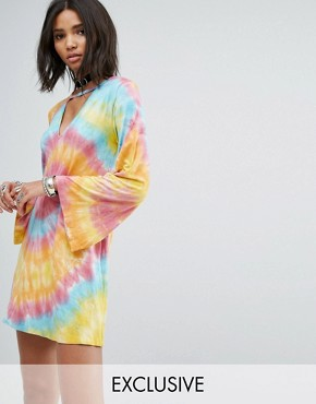photo Swing Dress with Wide Sleeves and Choker Neck in Tie-Dye by Rokoko, color Rainbow Tye Dye - Image 1