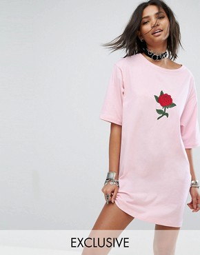 photo T-Shirt Dress with Rose Patch by Rokoko, color Baby Pink - Image 1