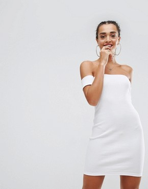 photo Bardot Bodycon Mini Dress by ASOS, color White - Image 1