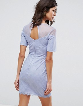 photo Lace T-Shirt Dress with Sweetheart Neckline by ASOS, color Soft Blue - Image 2