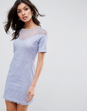 photo Lace T-Shirt Dress with Sweetheart Neckline by ASOS, color Soft Blue - Image 1