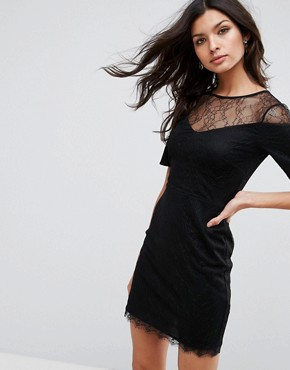 photo Lace T-Shirt Dress with Sweetheart Neckline by ASOS, color Black - Image 1