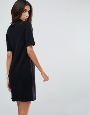 photo T-Shirt Mini Dress with Faux Leather Collar by ASOS, color Black - Image 2