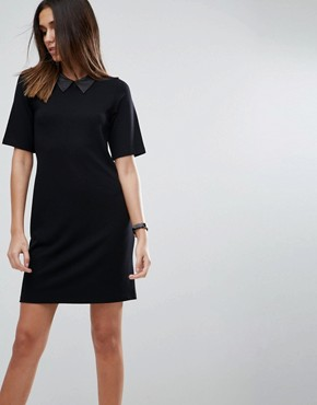 photo T-Shirt Mini Dress with Faux Leather Collar by ASOS, color Black - Image 1