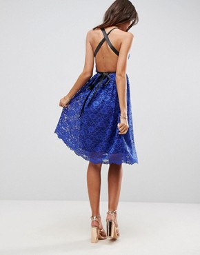 photo Lace Prom Midi Dress with Ribbon Ties by ASOS, color Royal Blue - Image 2