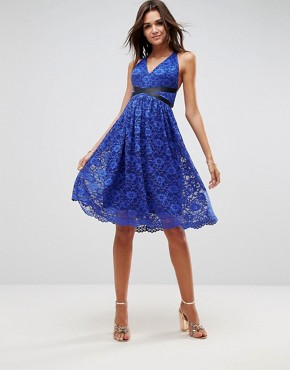 photo Lace Prom Midi Dress with Ribbon Ties by ASOS, color Royal Blue - Image 1