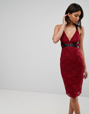 photo Lace Pencil with Ribbon Ties Midi Dress by ASOS, color Wine - Image 1