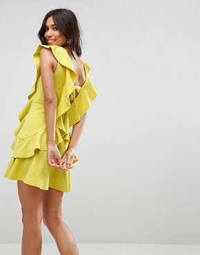 photo Ruffle Front Bow Back Mini Dress by ASOS, color Chartreuse - Image 2