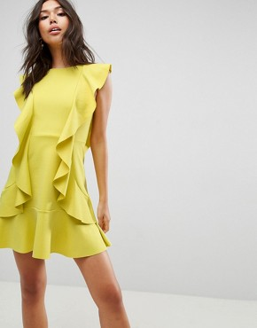 photo Ruffle Front Bow Back Mini Dress by ASOS, color Chartreuse - Image 1