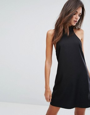 photo High Neck Dress with Lace Back by Fashion Union, color Black - Image 2