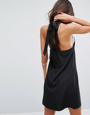 photo High Neck Dress with Lace Back by Fashion Union, color Black - Image 1