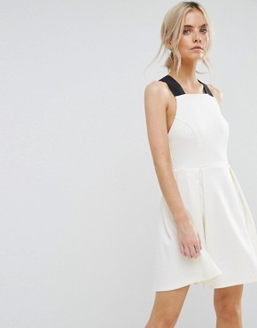photo Pinafore Dress with Wide Elastic Straps by ASOS PETITE PREMIUM, color Cream - Image 2
