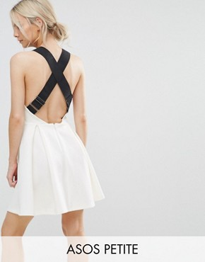 photo Pinafore Dress with Wide Elastic Straps by ASOS PETITE PREMIUM, color Cream - Image 1