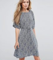 photo Fluted Sleeve Skater Dress by Glamorous, color Cream/Navy - Image 1