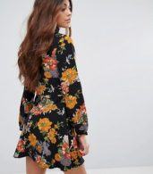 photo Floral Print Skater Dress with Tie Neck by Glamorous, color Multi - Image 2