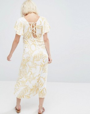photo Paradise Floral Waterfall Wrap Dress by Minkpink, color Multi - Image 2