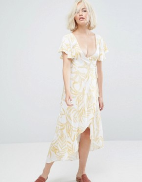 photo Paradise Floral Waterfall Wrap Dress by Minkpink, color Multi - Image 1
