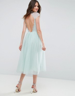 photo Lace Tulle Midi Prom Dress by ASOS TALL PREMIUM, color Mint - Image 2