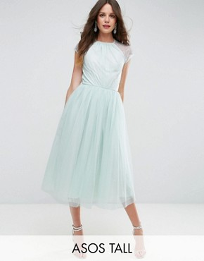 photo Lace Tulle Midi Prom Dress by ASOS TALL PREMIUM, color Mint - Image 1