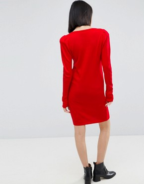 photo Dress with V-Neck and Shoulder Pad by ASOS, color Red - Image 2