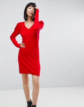 photo Dress with V-Neck and Shoulder Pad by ASOS, color Red - Image 1