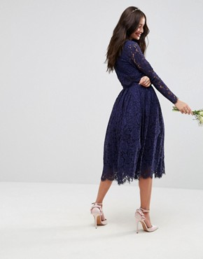 photo Lace Long Sleeve Midi Prom Dress by ASOS WEDDING, color Navy - Image 2