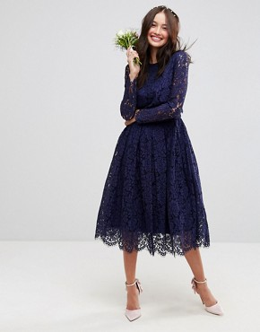 photo Lace Long Sleeve Midi Prom Dress by ASOS WEDDING, color Navy - Image 1