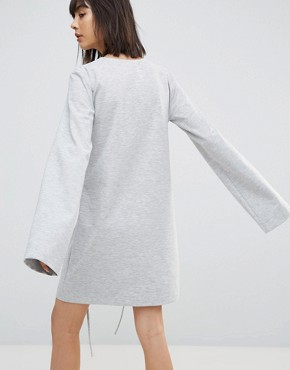 photo Long Sleeve T-Shirt Dress with Corset Waist by House of Sunny, color Grey - Image 2