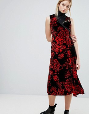 photo Garza Velvet Midi Dress by Sportmax Code, color Red - Image 1