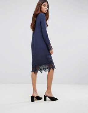 photo Lace Trim Dress by Vila, color Navy - Image 2