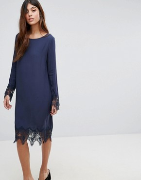 photo Lace Trim Dress by Vila, color Navy - Image 1