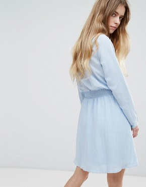 photo High Neck Dress with Gathered Waist by Vila, color Cashmere Blue - Image 2