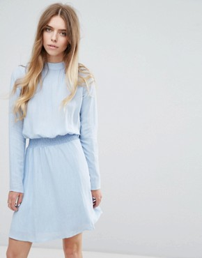 photo High Neck Dress with Gathered Waist by Vila, color Cashmere Blue - Image 1