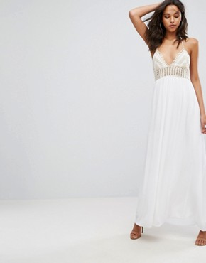 photo Crochet Top Maxi Dress by Missguided, color White - Image 1