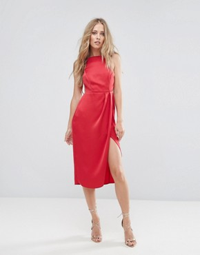 photo Drape Back Delicate Backless Midi Dress by ASOS, color Red - Image 2