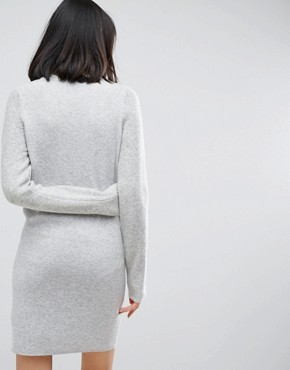 photo Knitted Dress with Stitch Sleeves by ASOS, color Grey Marl - Image 2