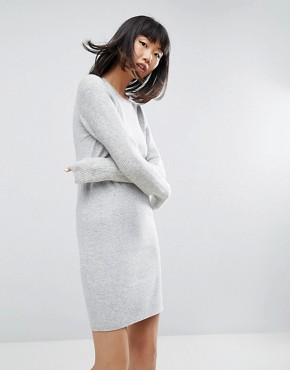 photo Knitted Dress with Stitch Sleeves by ASOS, color Grey Marl - Image 1