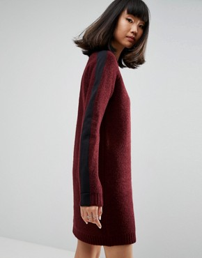 photo Knitted Dress with Contrast Tipping by ASOS, color Berry - Image 2