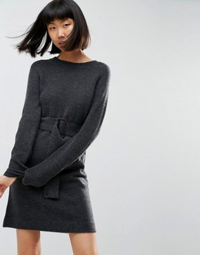 photo Knitted Mini Dress with Belt by ASOS, color Charcoal - Image 1