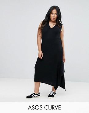 photo Knitted Dress with V-Neck and Hem Detail by ASOS CURVE, color Black - Image 1
