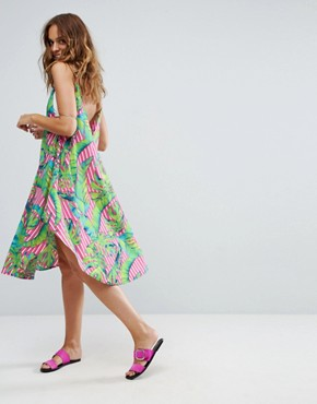 photo Cami Beach Dress with Dipped Hem in Stripe Palm Print by ASOS, color Print - Image 2