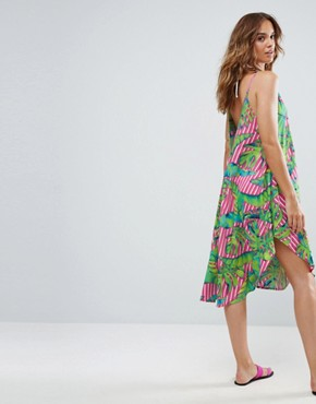 photo Cami Beach Dress with Dipped Hem in Stripe Palm Print by ASOS, color Print - Image 1