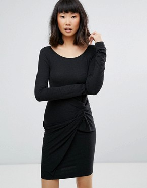 photo Knot Detail Dress by Moss Copenhagen, color Black Melange - Image 1